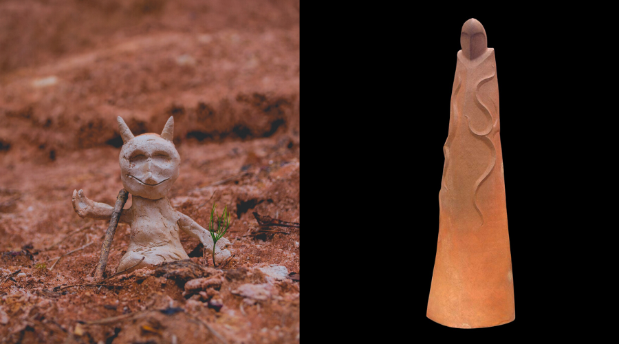 Tiny clay animal, and Kaitiaki sculpture by Manos Nathan